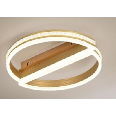 Lustra LED Dimabila 100w cu telecomanda 3 functii aurie cu cristale