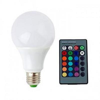 Bec LED E27 8W RGB cu telecomanda