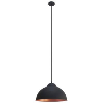 Pendul vintage E27 60W negru/cupru